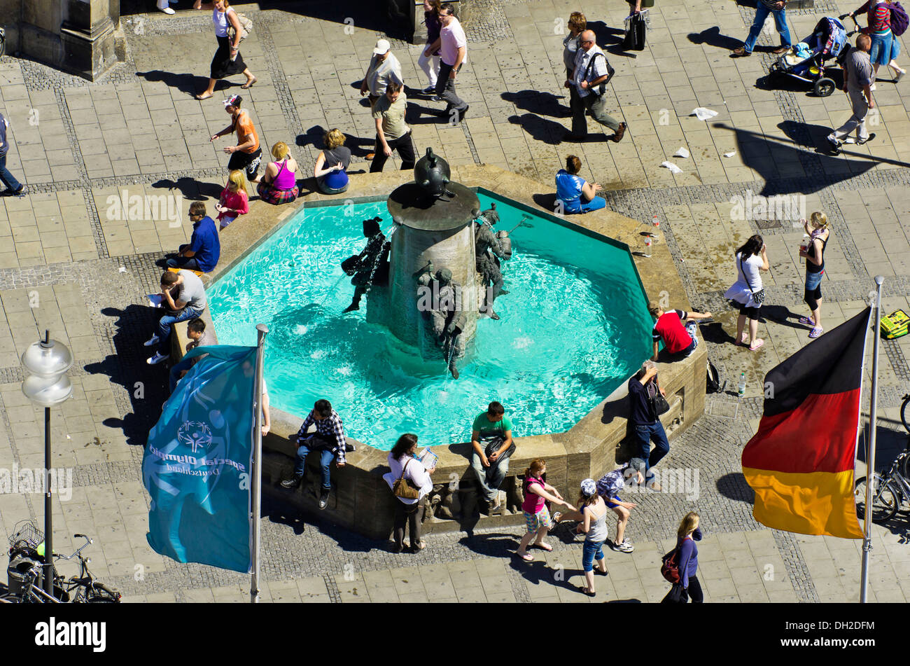 View of the fountain on Marienplatz square in the city centre, the central point of the pedestrian zone, Munich, Stock Photo