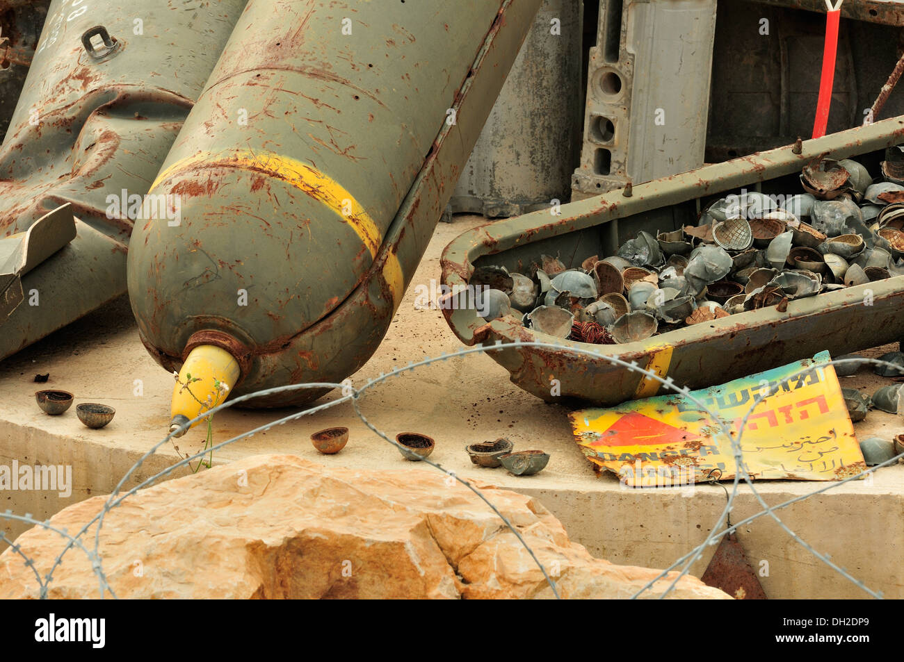 Cluster bombs, or cluster munitions, are a weapons containing multiple explosive submunitions. Mleeta, Lebanon - Stock Image