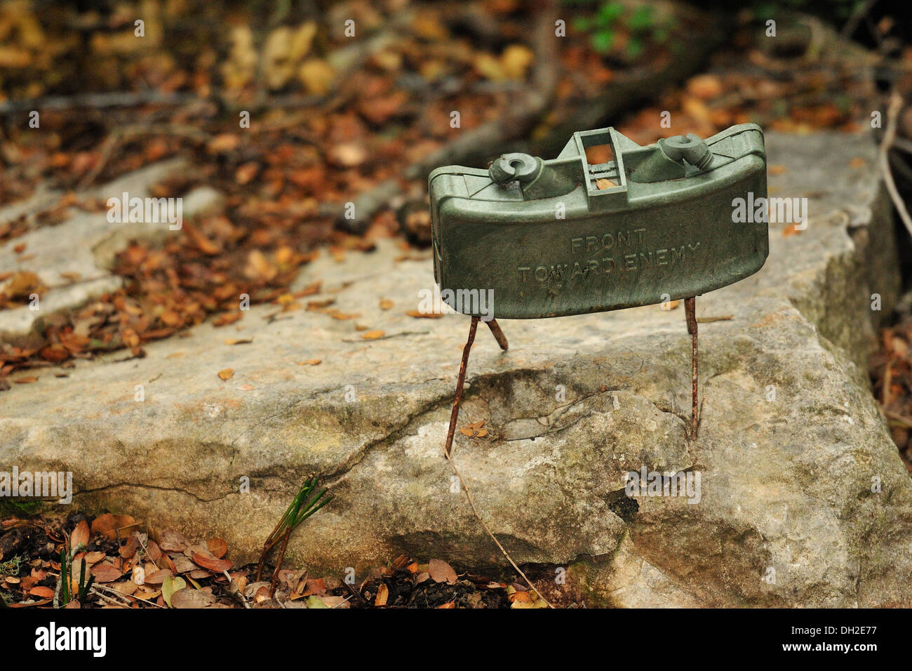 The M18A1 Claymore is a directional anti-personnel mine used by the U.S. military., Mleeta, Hezbollah Museum, South Lebanon - Stock Image