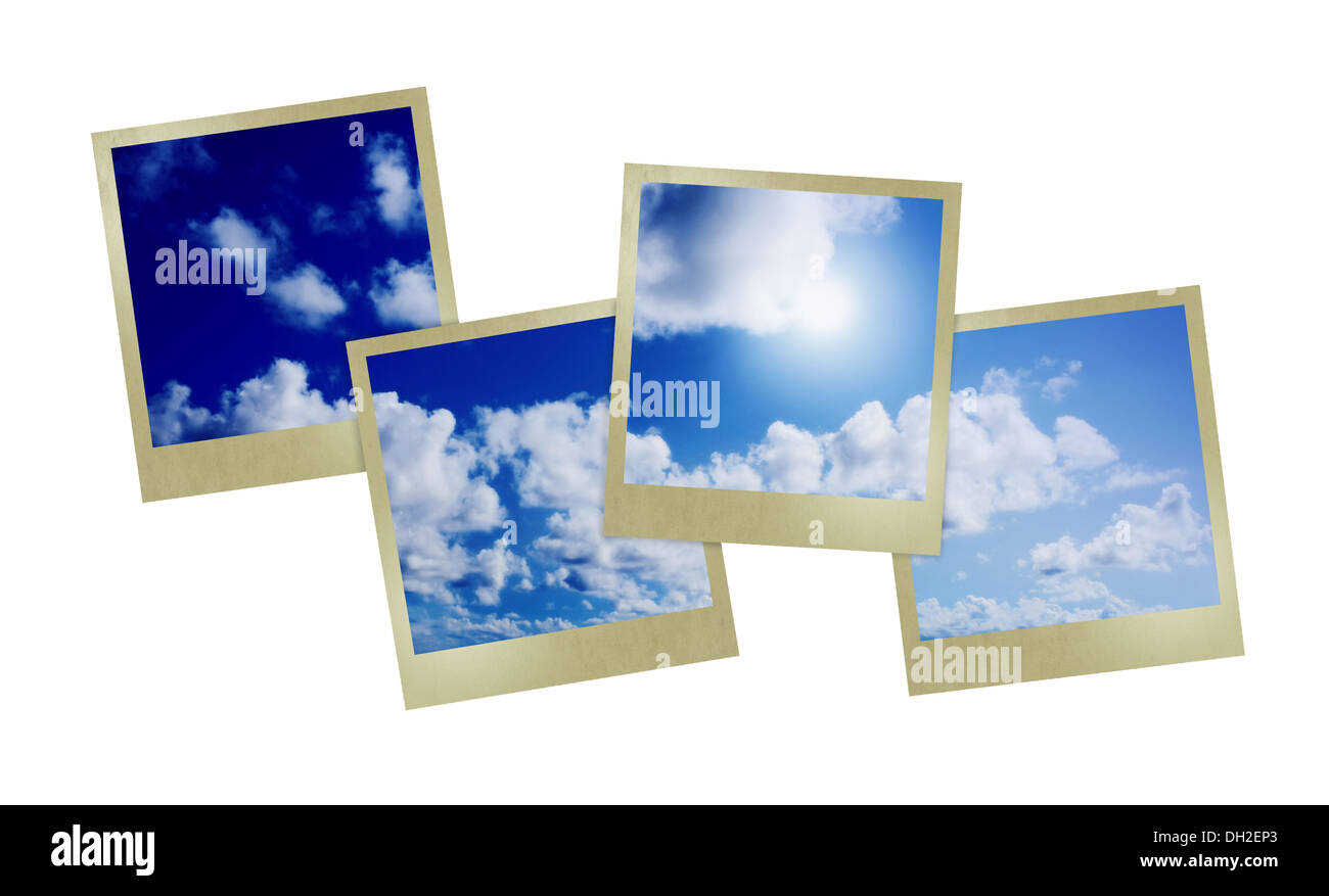 Blue sunny sky with clouds - Stock Image