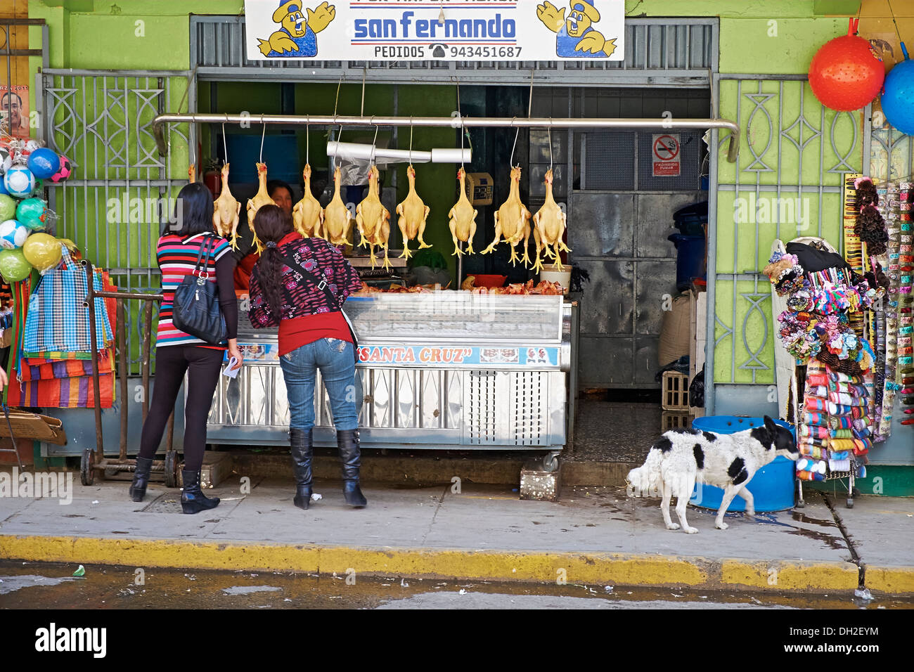 Poultry and meat street trader, Huaraz In Peru, South America. - Stock Image