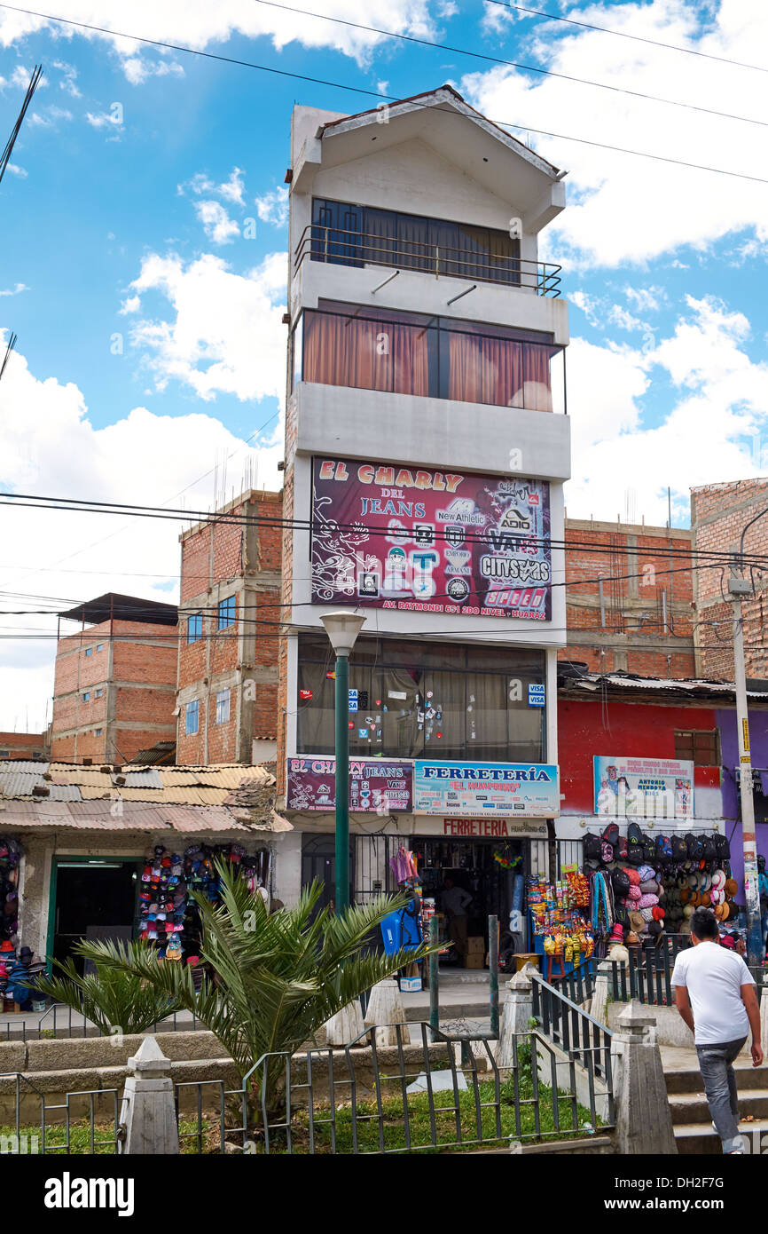 An incomplete structure on the streets of Huaraz In Peru, South America. - Stock Image