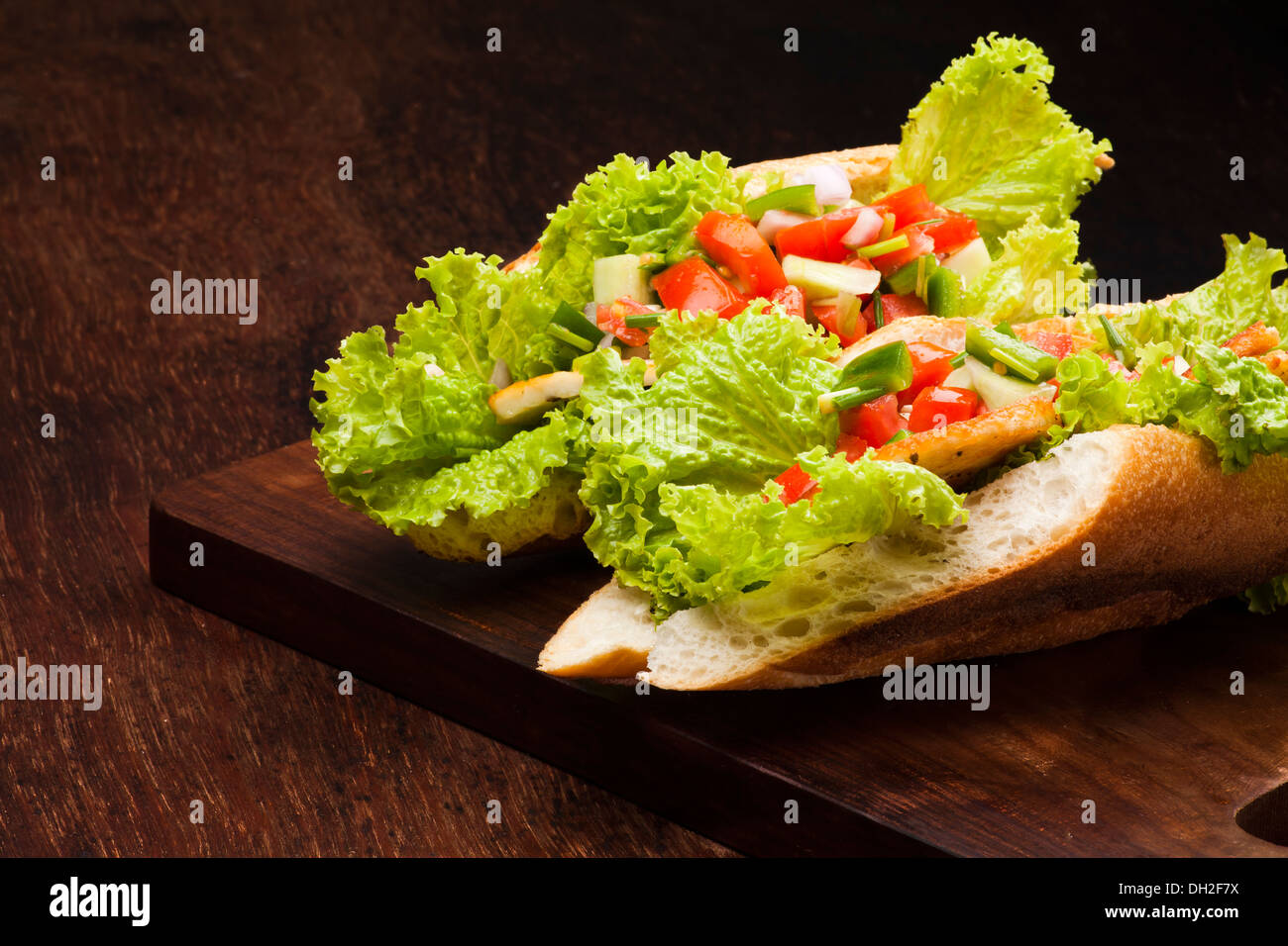 sandwich with salsa mexicana and cottage cheese - Stock Image