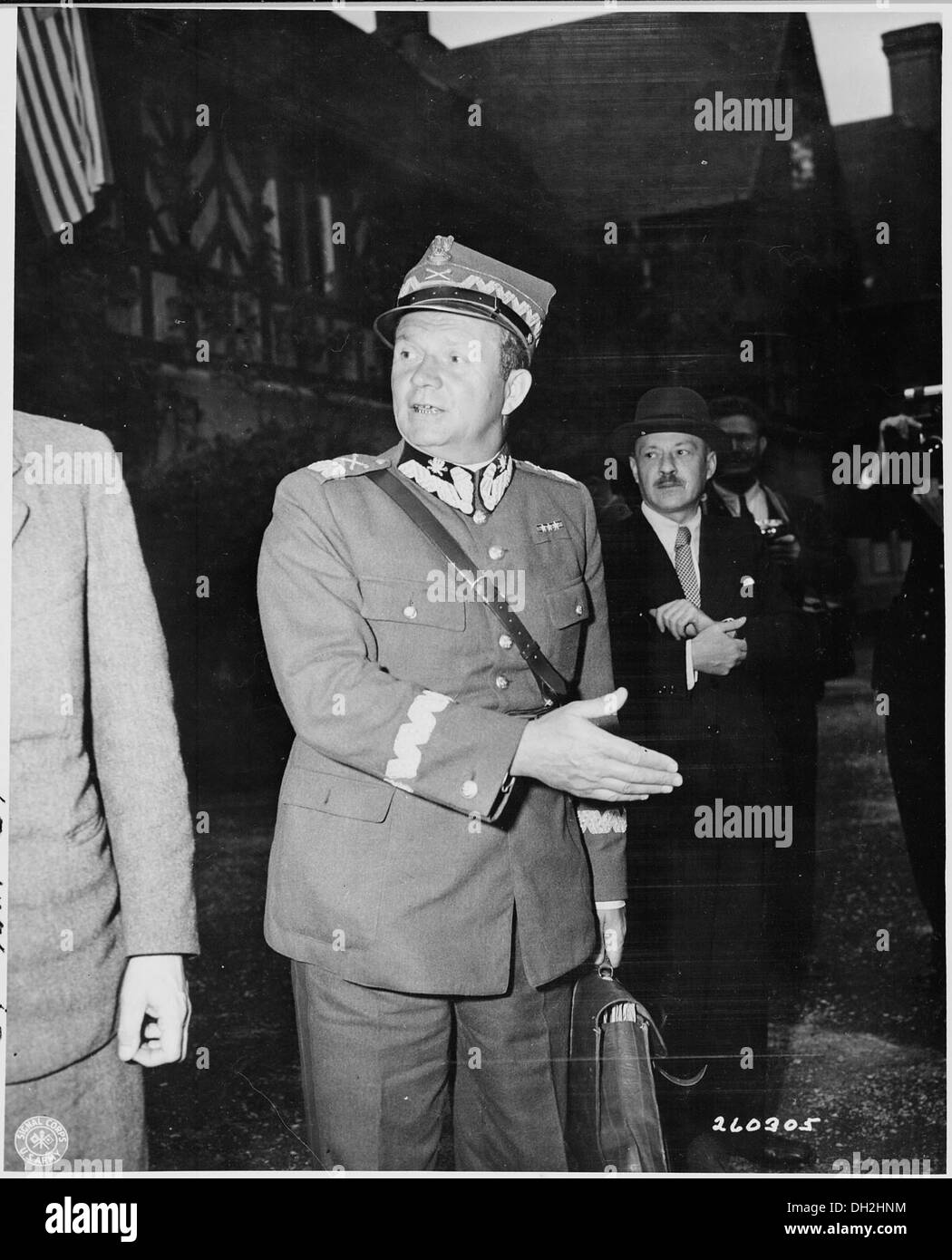 Marshal Zymirski, Polish Army officer, leaving the Cecilienhof Palace during the Potsdam Conference in Germany. - Stock Image
