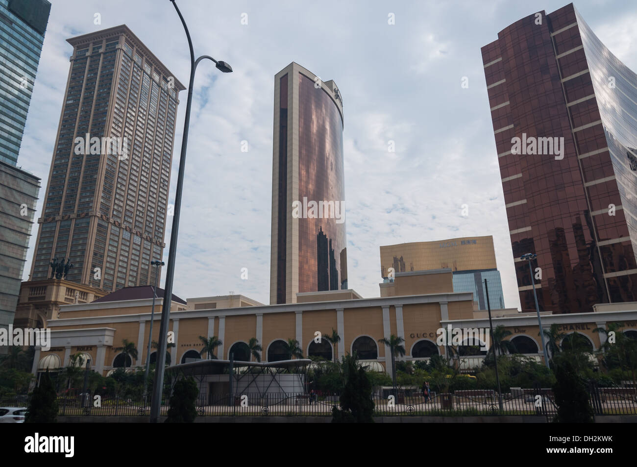 Casinos in Macau, including the MGM and the Wynn. - Stock Image