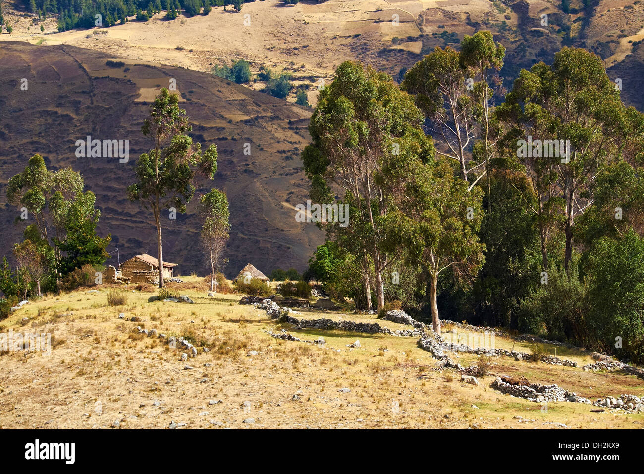 Traditional adobe settlement in the Huascaran National Park in the Andes, South America. - Stock Image