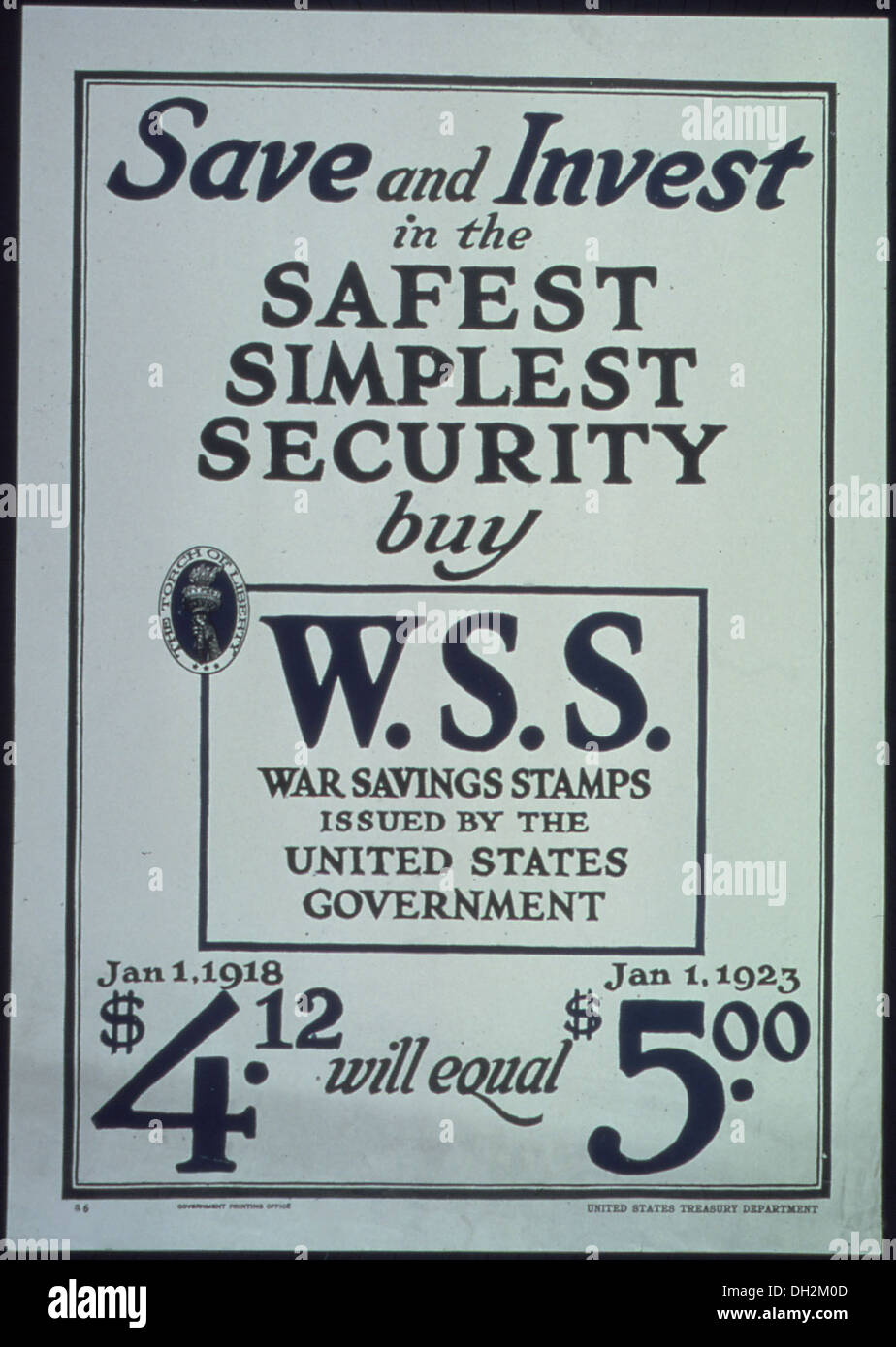 Save and Invest in the Safest, Simplest Security buy W.S.S. war Saving Stamps issued by the United States Government.... 512678 - Stock Image