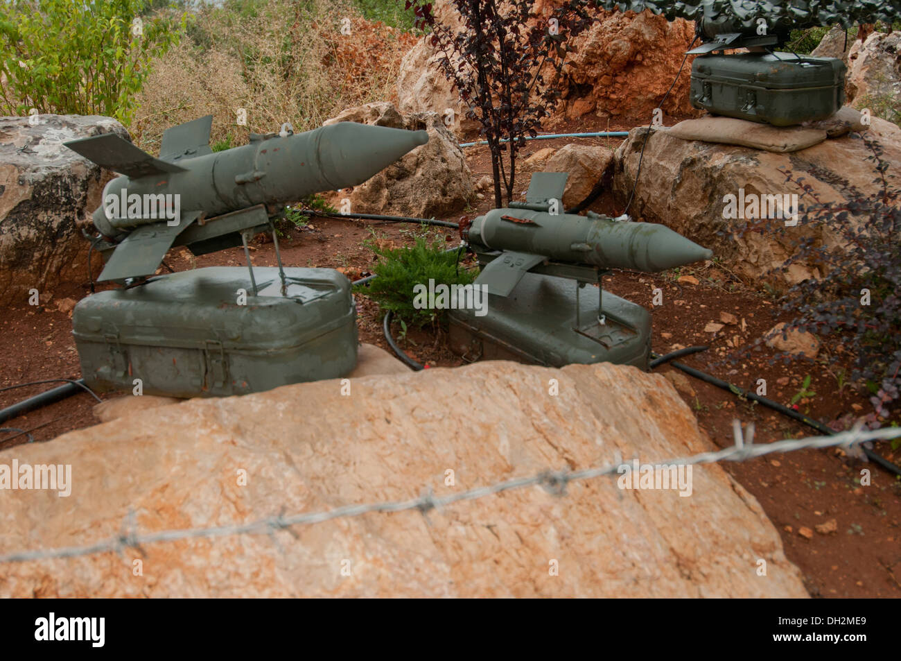 Anti Tank Guided Missile System Malyutka,  developed in the Soviet Union, Mleeta, Hezbollah Museum, South Lebanon - Stock Image