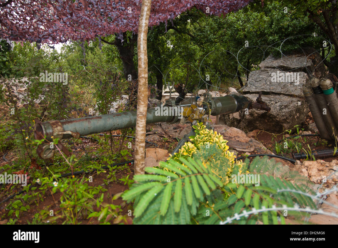 B-10k recoilless rifle, RG82 in East Germany, Soviet 82 mm smoothbore recoilless rifle, Mleeta, Hezbollah Museum, South Lebanon - Stock Image