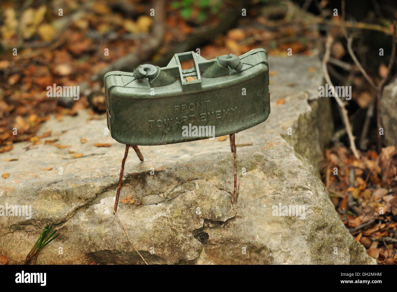 The M18A1 Claymore is a directional anti-personnel mine used by the U.S. military., Mleeta, Hezbollah Museum, South Lebanon. hor - Stock Image