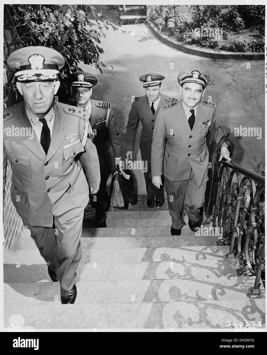 The Staff Officers Of Fleet Admiral Ernest J King U S Navy Ascend Steps To Their Quarters Near Little White 199003