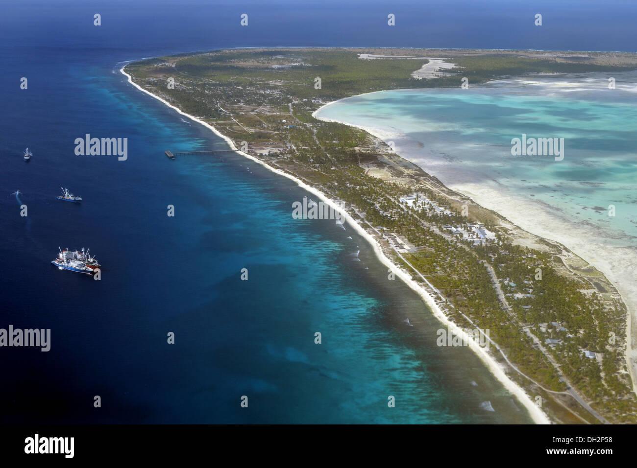 Aerial View of Kiritimati, Line Islands, Pacific Ocean, Kiribati - Stock Image
