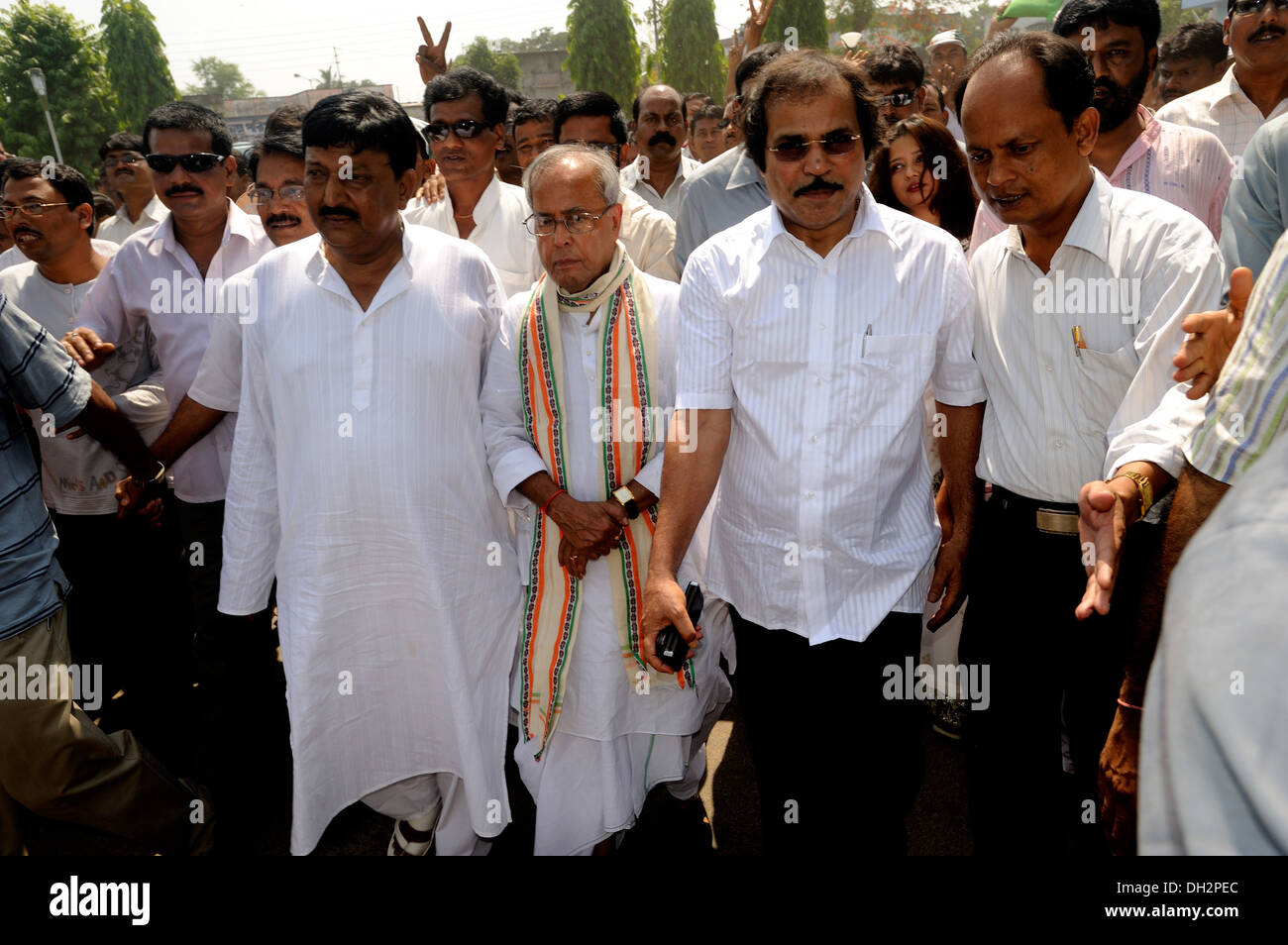 Congress political party candidates Abdul Mannan Pranab Mukherjee and Adhir Choudhury Berhampur orissa India Asia - Stock Image