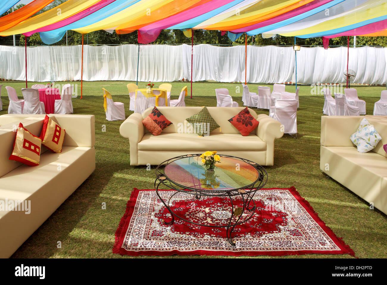empty venue Indian Wedding reception decoration India Asia - Stock Image