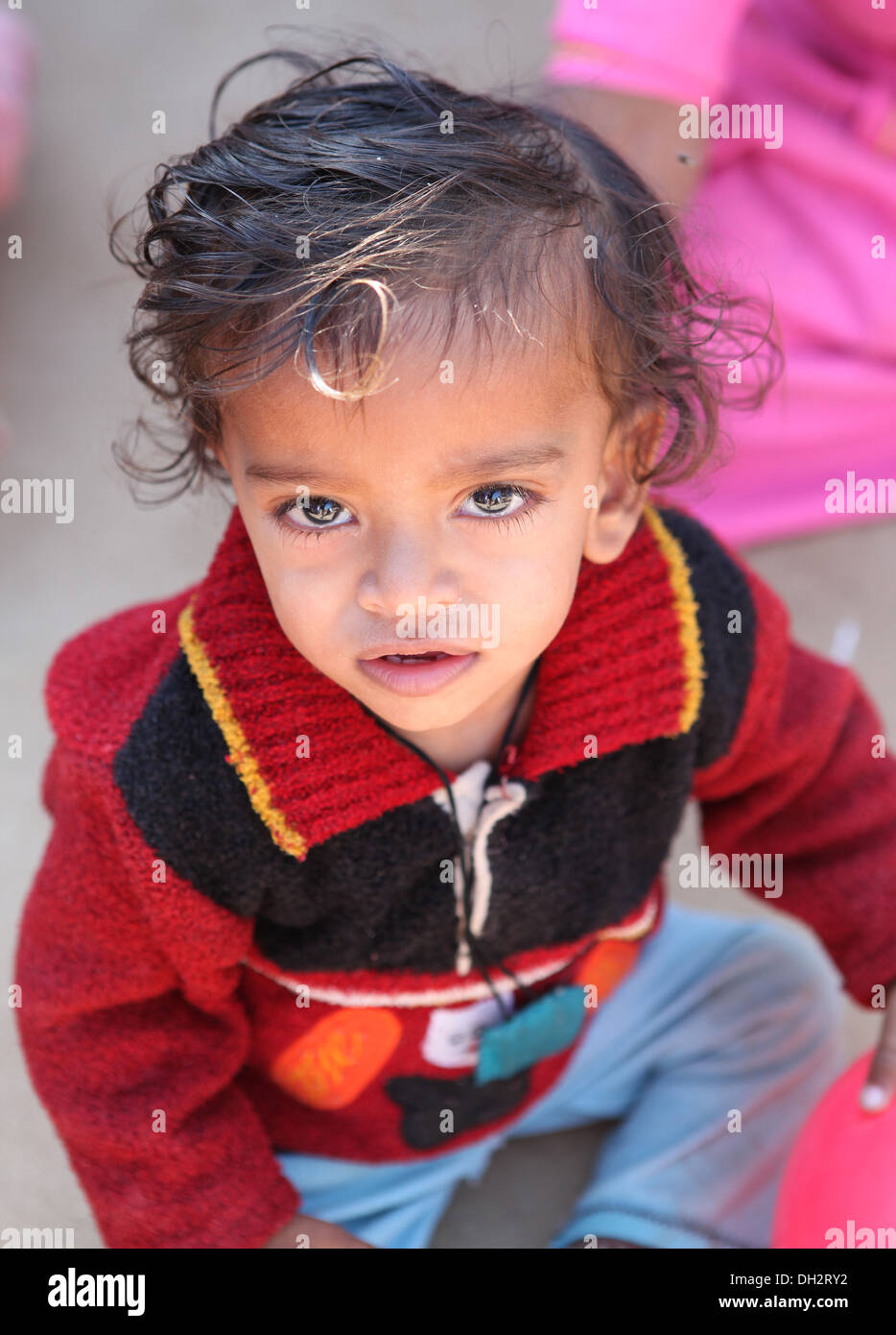 Portrait of a toddler,Rajasthan,India. - Stock Image