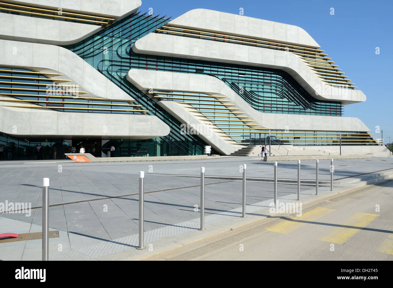 Main Entrance & Facade of Pierresvives Sports Center by Zaha Hadid Montpellier France Stock Photo