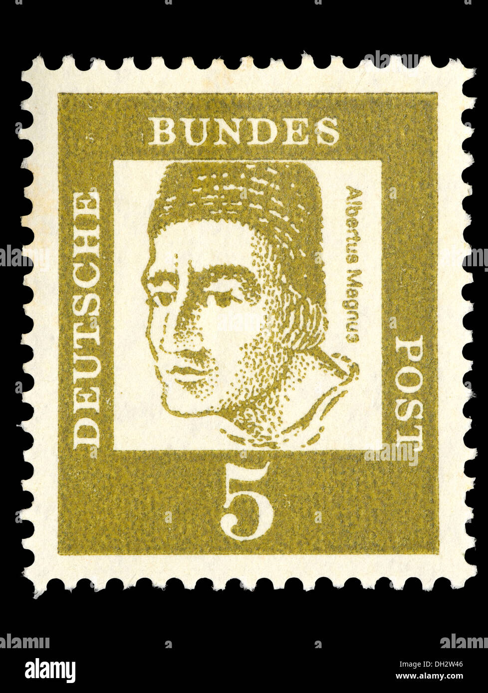 Portrait of Albertus Magnus (1193-1280: Catholic saint, German Dominican friar and bishop) on German postage stamp - Stock Image