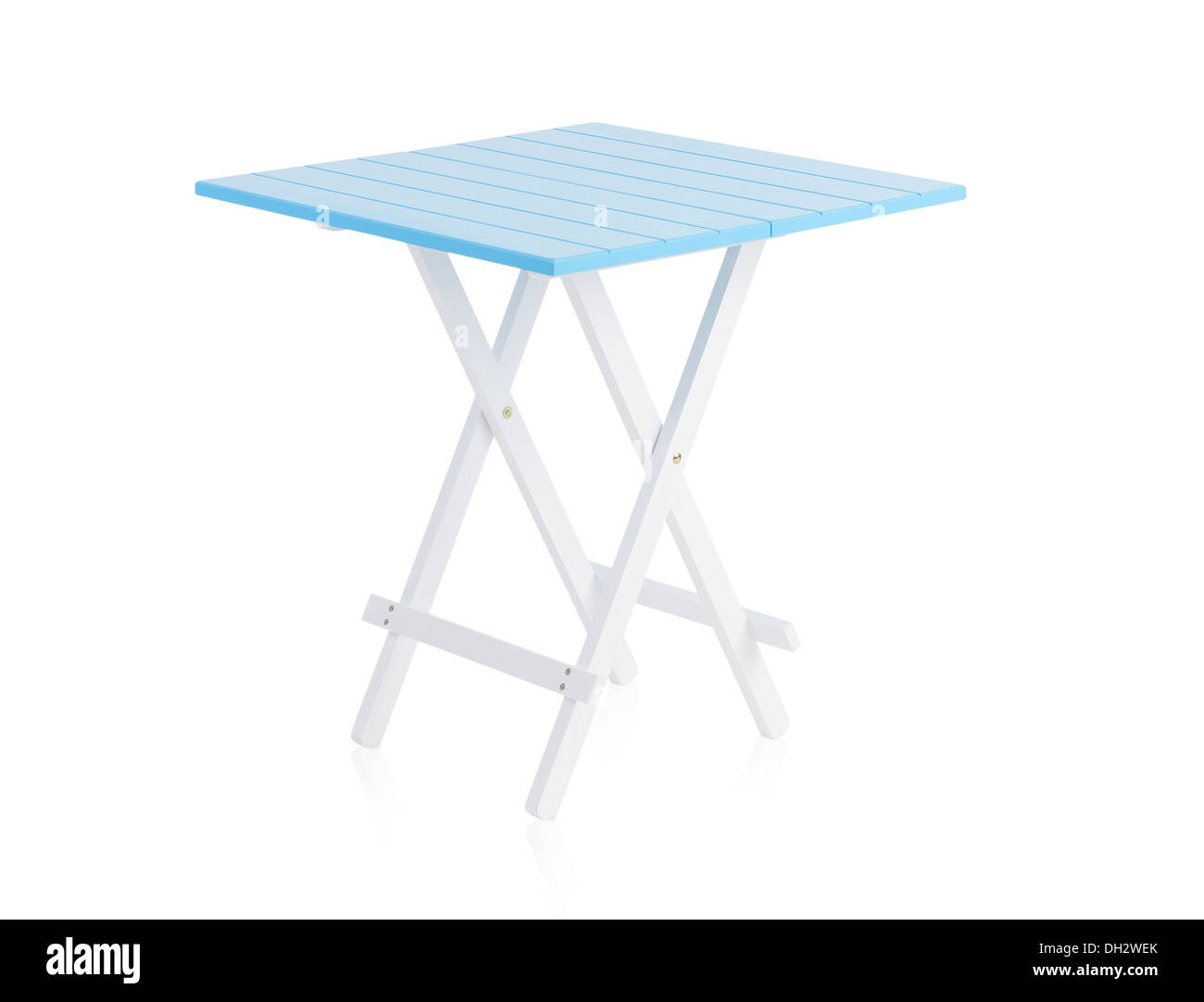 Blue wooden table isolated on white background Stock Photo