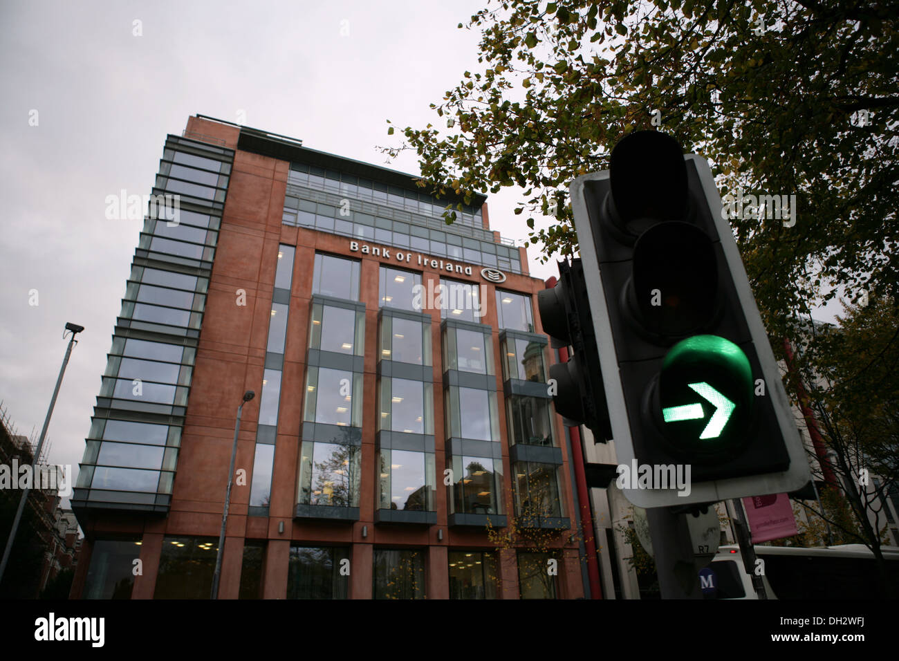 Belfast, UK 31st October 2013 Front of the Bank of Ireland HQ in Northern Ireland With Traffic Green light - Stock Image