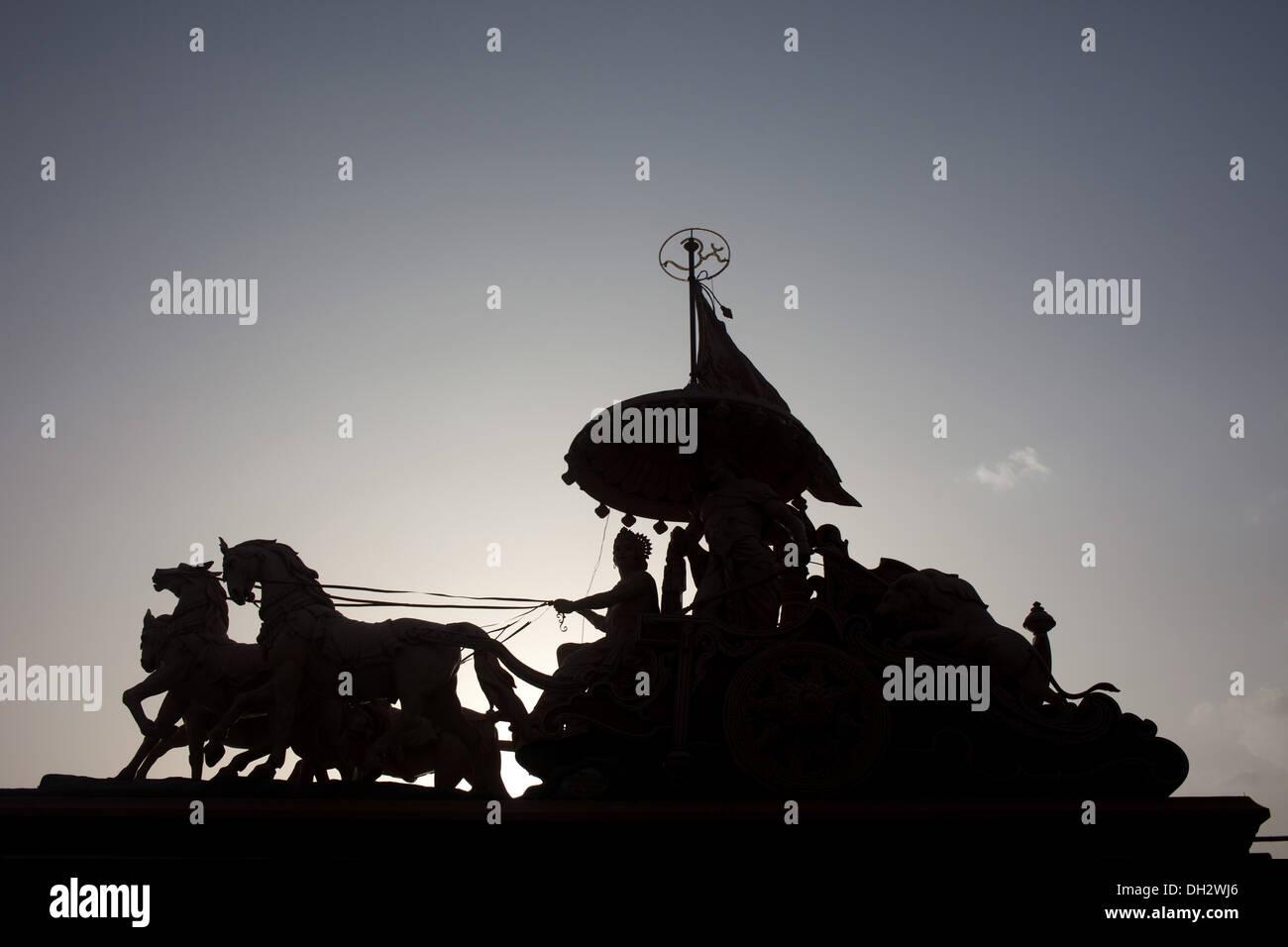 mahabharat arjuna horse chariot sculpture Rishikesh temple Uttarakhand India Asia - Stock Image