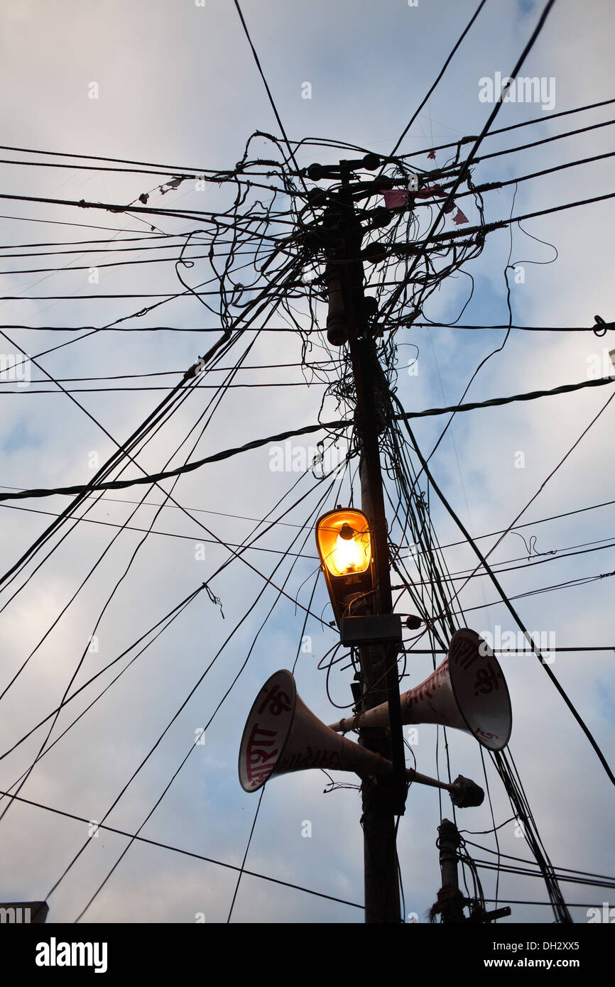 wires light loudspeakers on electric pole in india asia stock photo rh alamy com Home Wiring in India India Wiring Mess