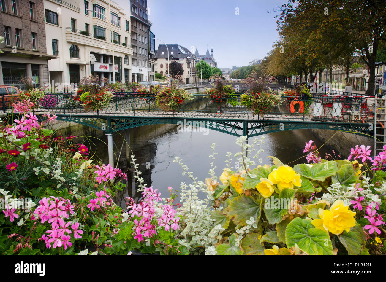 Flower displays on the bridges over the River Odet in Quimper, Brittany, France Stock Photo