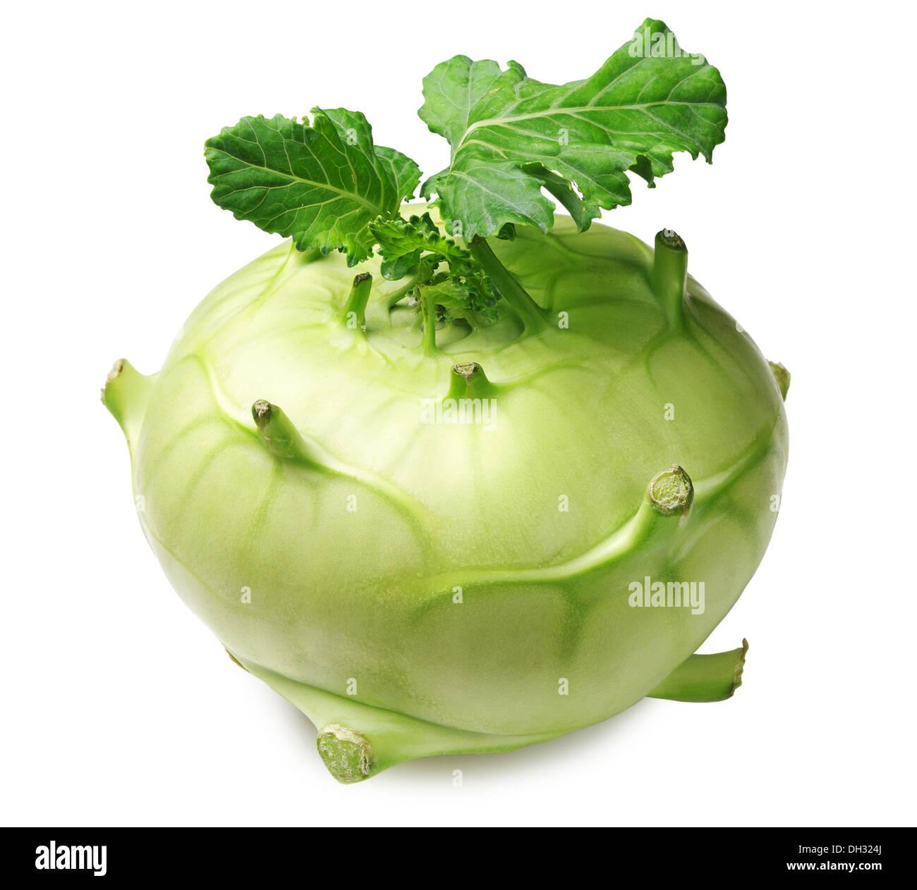 Cabbage kohlrabi on white background - Stock Image