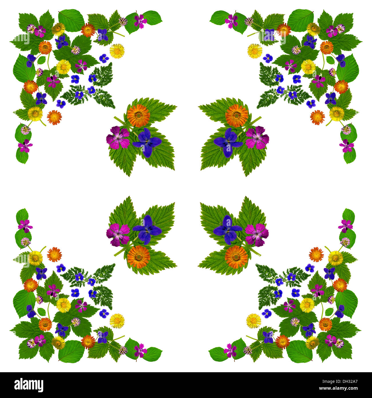 Napkin with colorful flowers - Stock Image