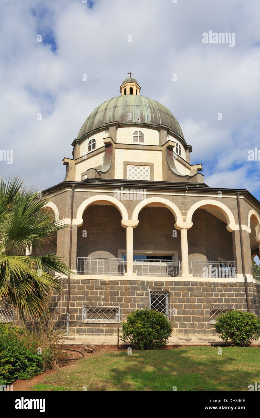 Basilica and colonnade at Mount Beatitudes Stock Photo