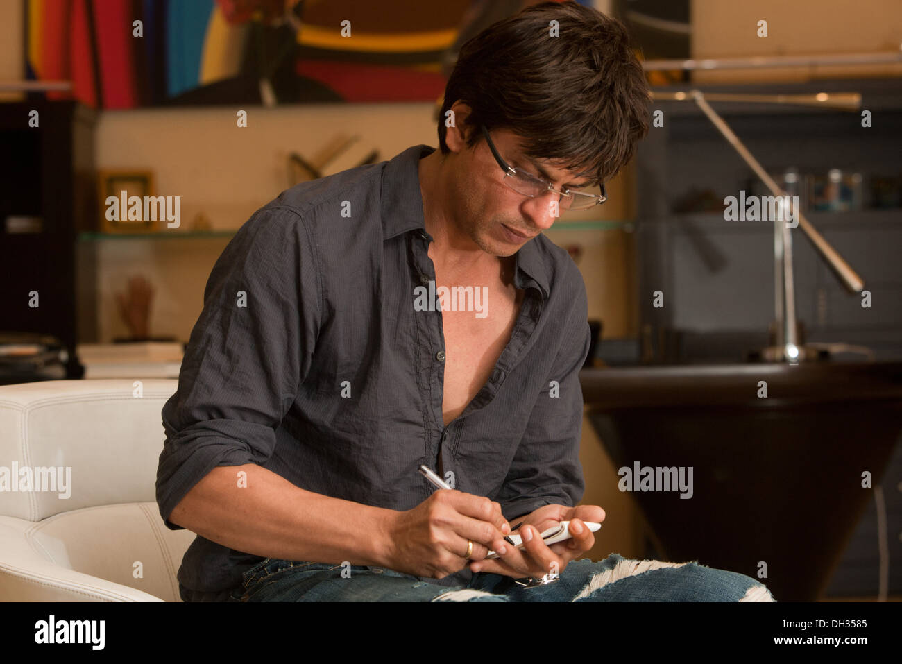 Indian bollywood hindi film Actor Shah Rukh Khan in black shirt Stock Photo  - Alamy