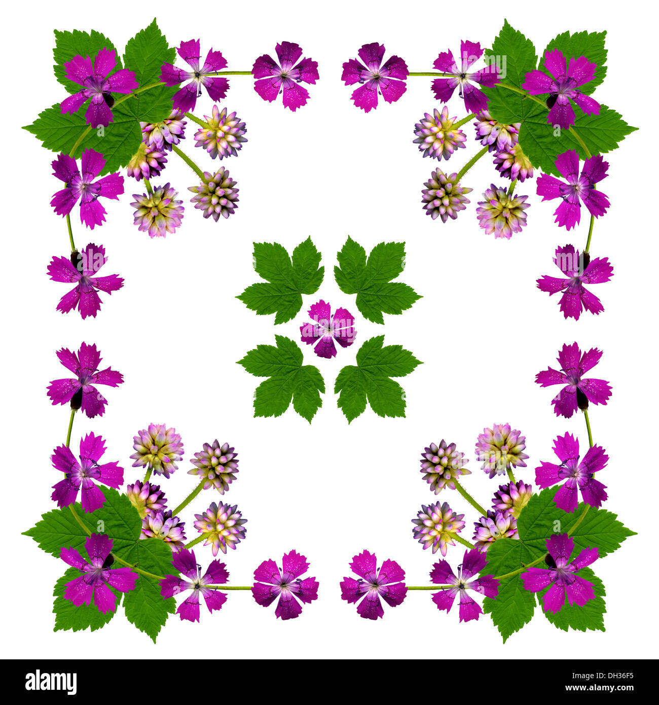 Napkin with purple flowers - Stock Image