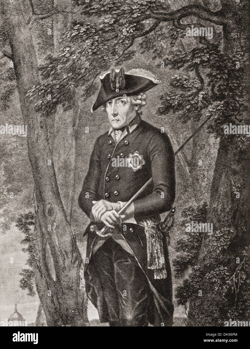 Frederick II, 1712 – 1786. King in Prussia (1740–1786) of the Hohenzollern dynasty. - Stock Image