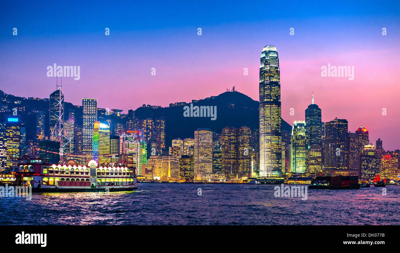 Hong Kong skyline at Victoria Harbor. - Stock Image