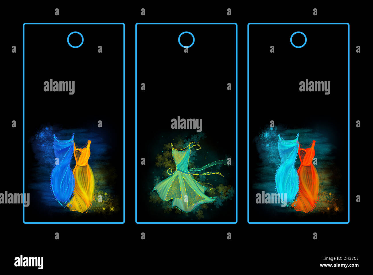 Tags for fashionable clothes. Black background, bright colors. - Stock Image