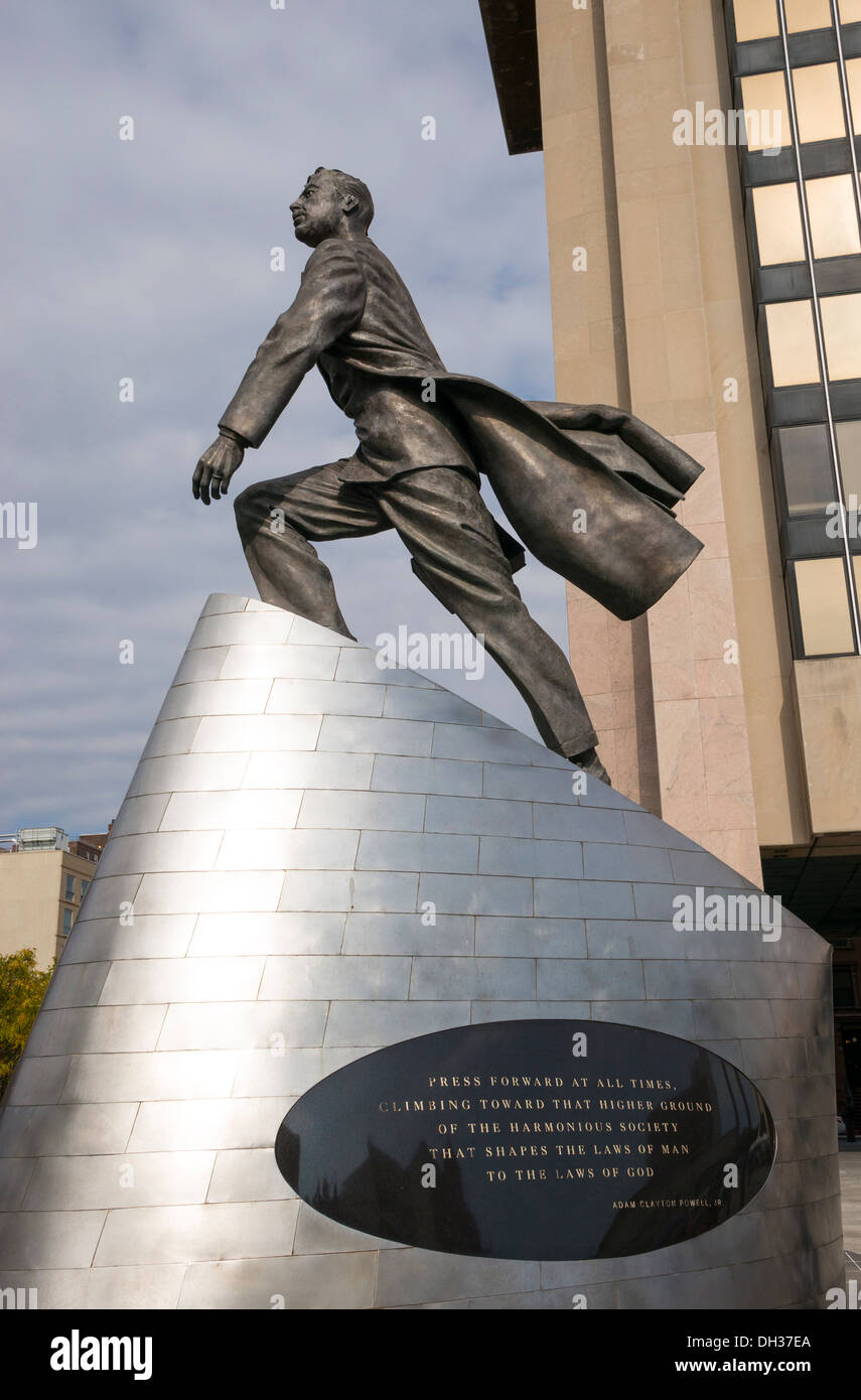 Statue of Adam Clayton Powell, Jr. in Harlem in New York City - Stock Image