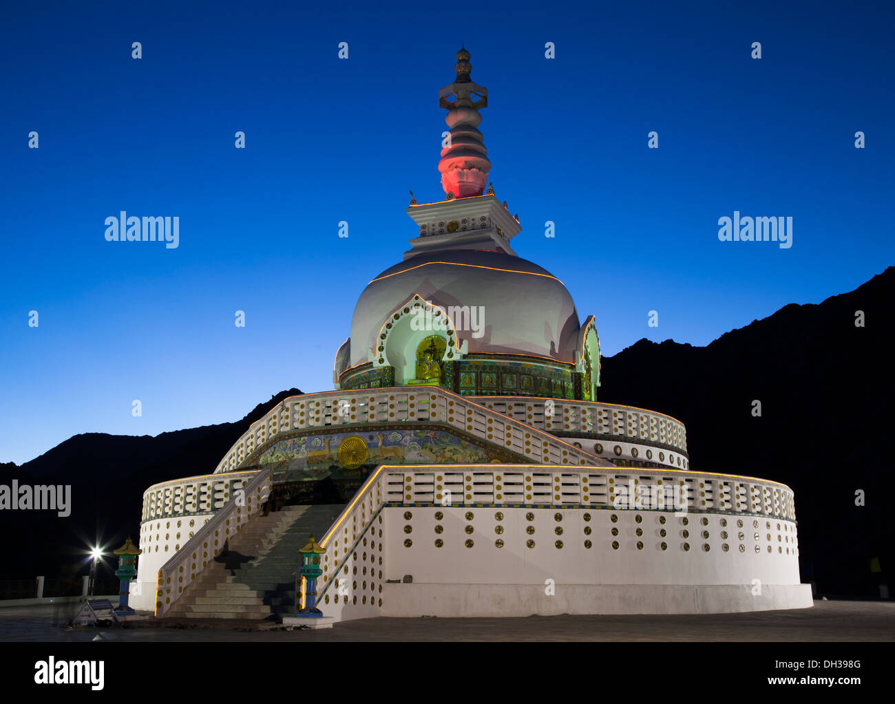 Shanti Stupa a Buddhist white-domed stupa (chorten) on a hilltop in Chanspa, Leh district, Ladakh, built in 1991 Stock Photo