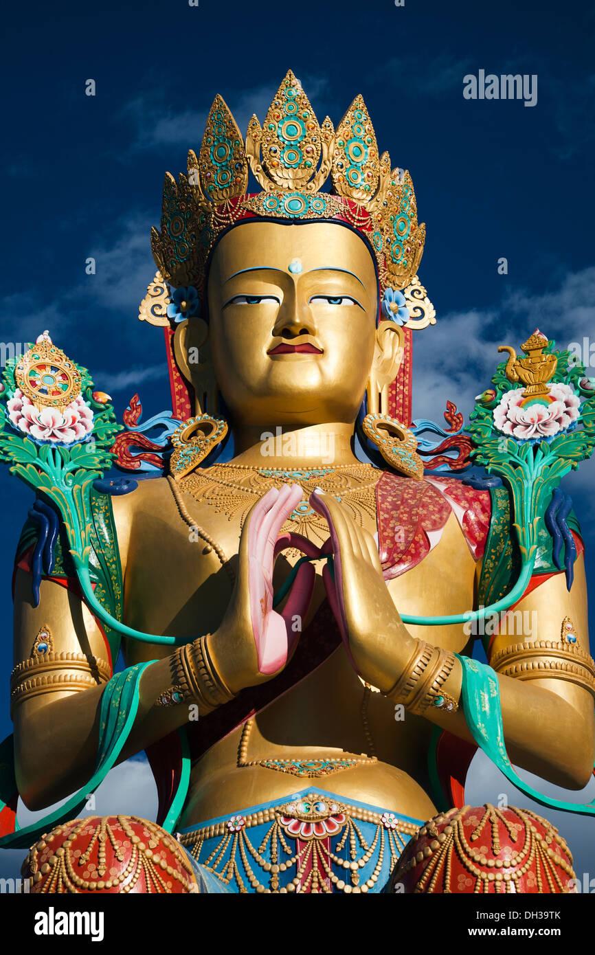 32 metre statue of Maitreya Buddha near Diskit Monastery facing down the Shyok River towards Pakistan. - Stock Image