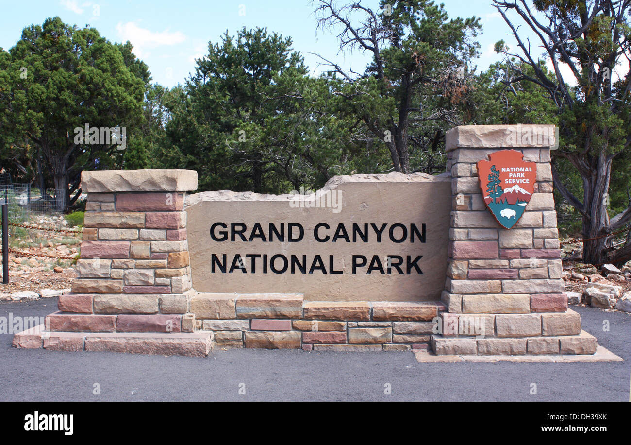 Grand Canyon National Park sign board in USA Stock Photo