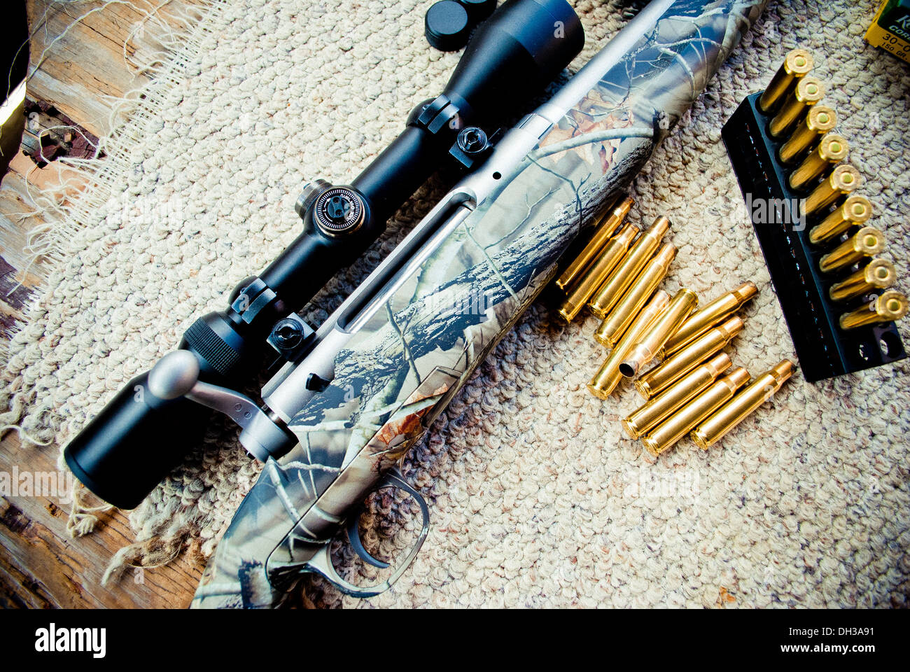 Rifle and bullets. - Stock Image