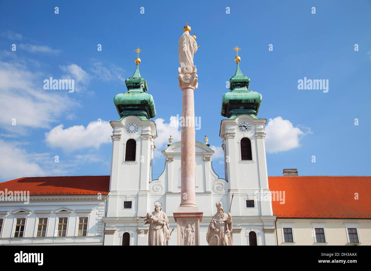 Church of St Ignatius Loyola and Trinity Column in Szechenyi Square, Gyor, Western Transdanubia, Hungary - Stock Image