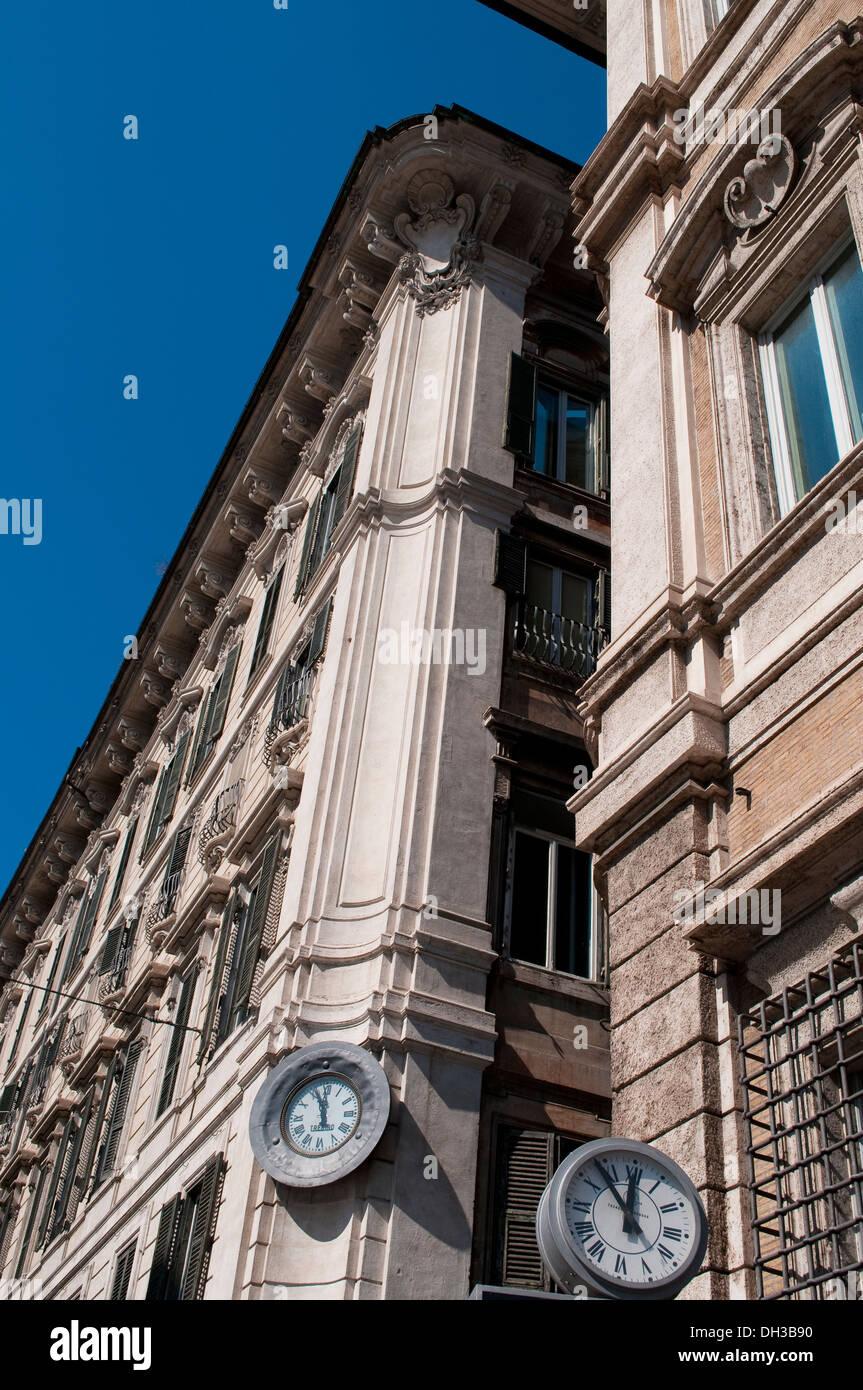 Two clocks, Piazza Venezia, Rome, Italy - Stock Image