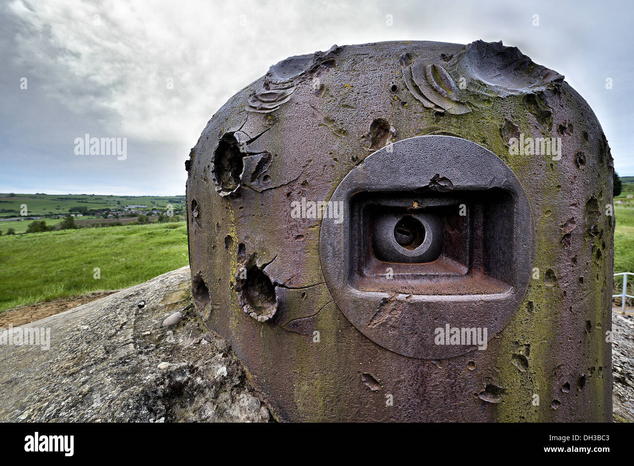 Damaged armored cloche, Villy la Ferte work, Maginot line. - Stock Image