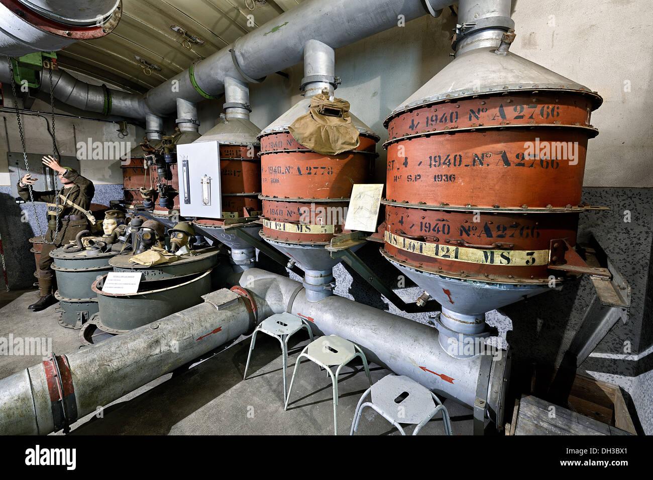 Filters room, Zeiterholz shelter, Maginot line. - Stock Image