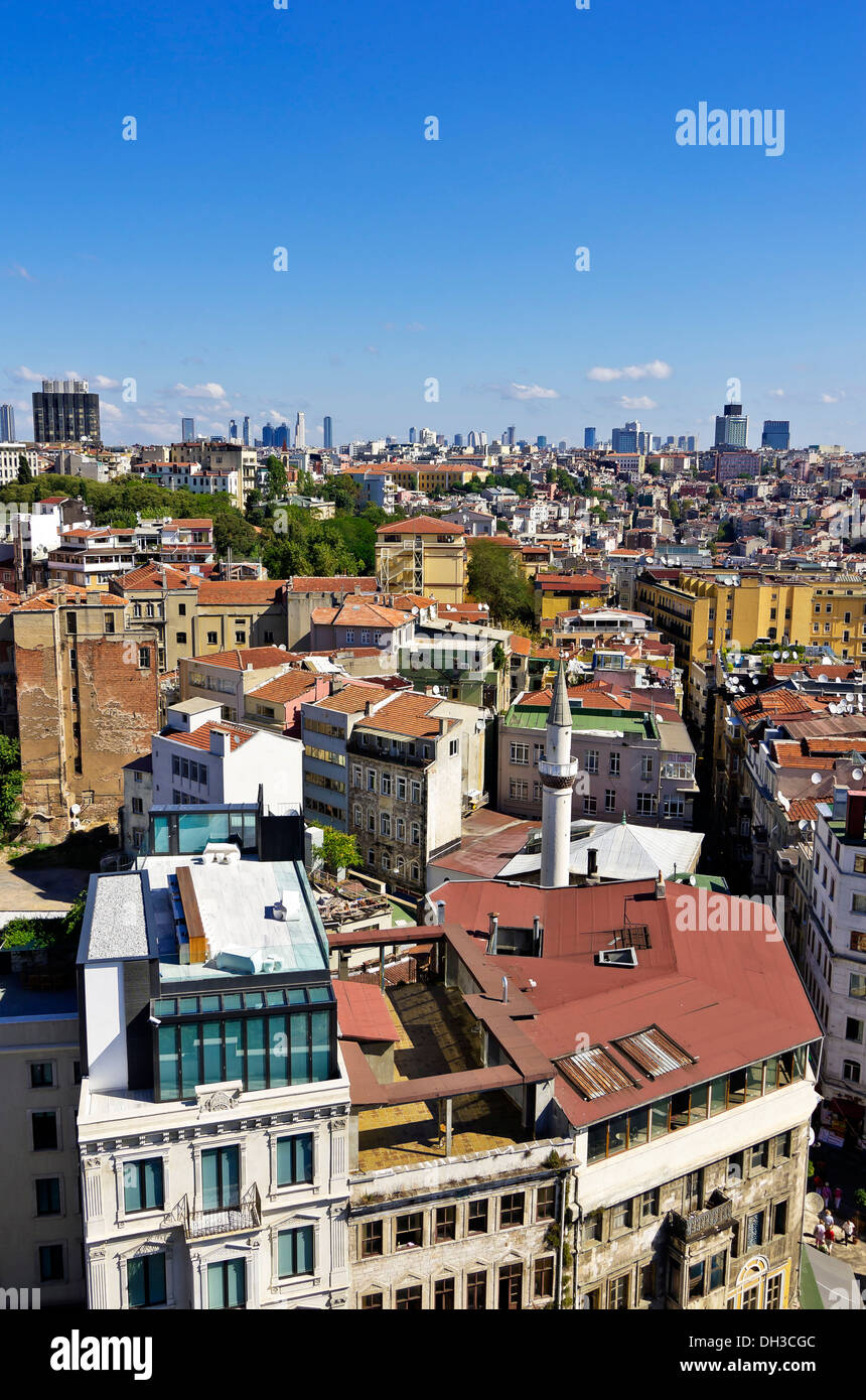 View from the Galata tower on the city, Istanbul, Turkey, Middle East - Stock Image
