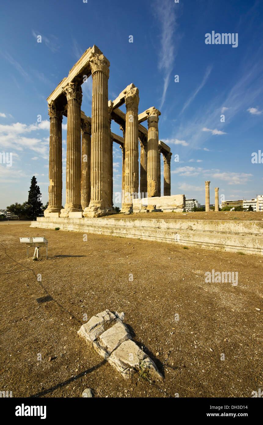 Temple of Olympian Zeus, Olympieion, Athens, Greece, Europe - Stock Image