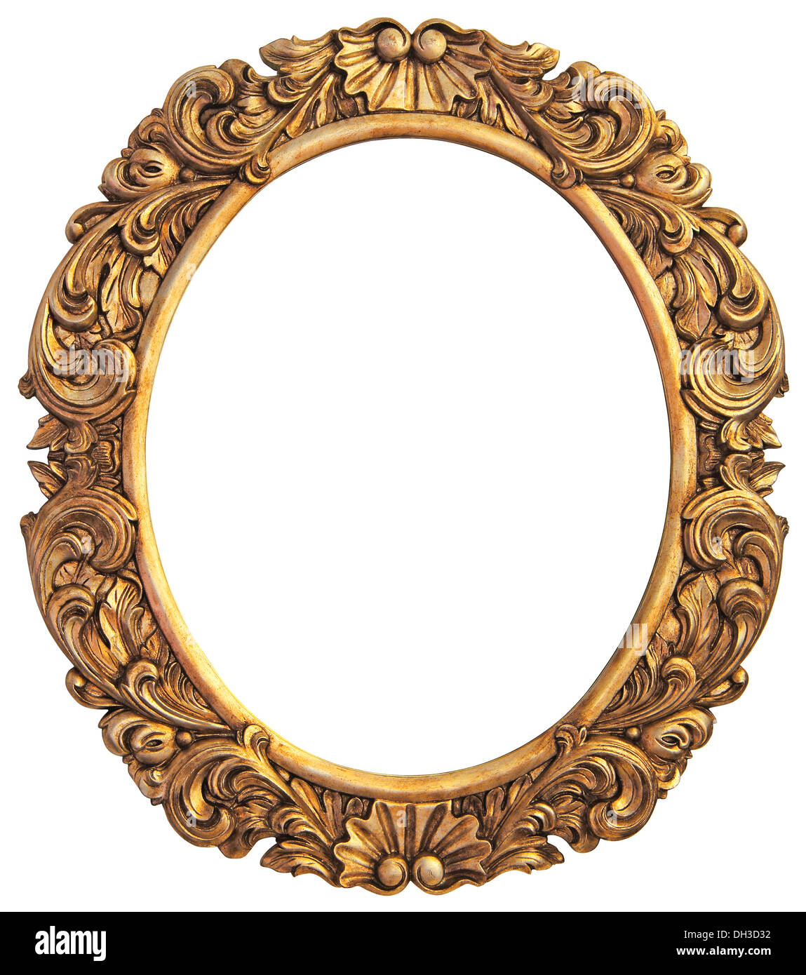 Antique gilded Frame Isolated with Clipping Path - Stock Image