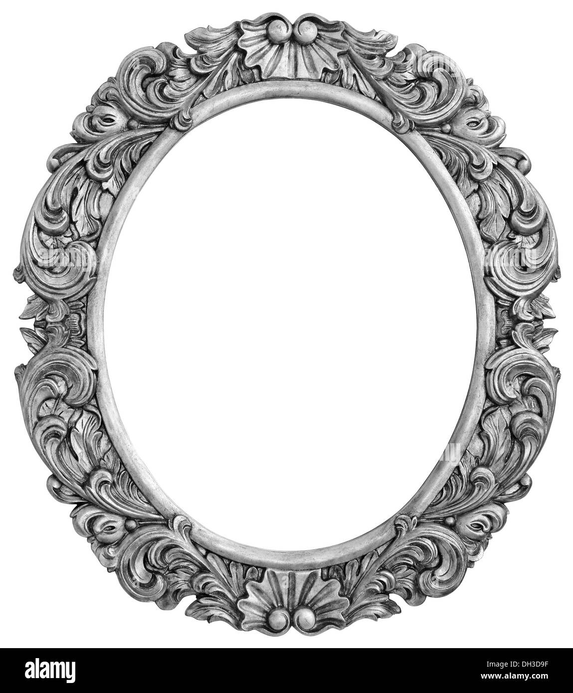 Antique silver plated frame Isolated with Clipping Path - Stock Image