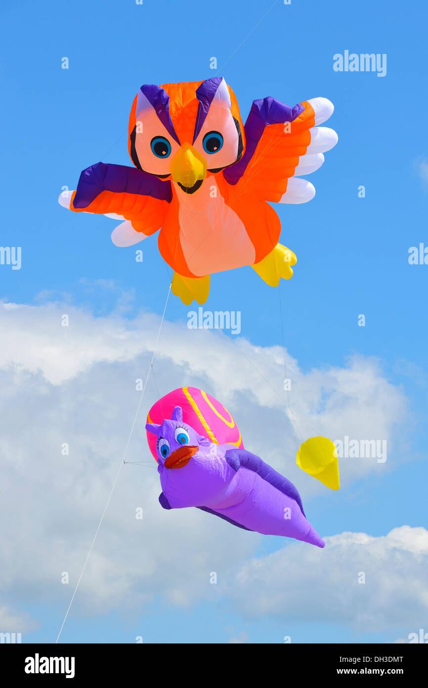 Kites in the air, Kite Festival 2012, St. Peter-Ording, Schleswig-Holstein - Stock Image