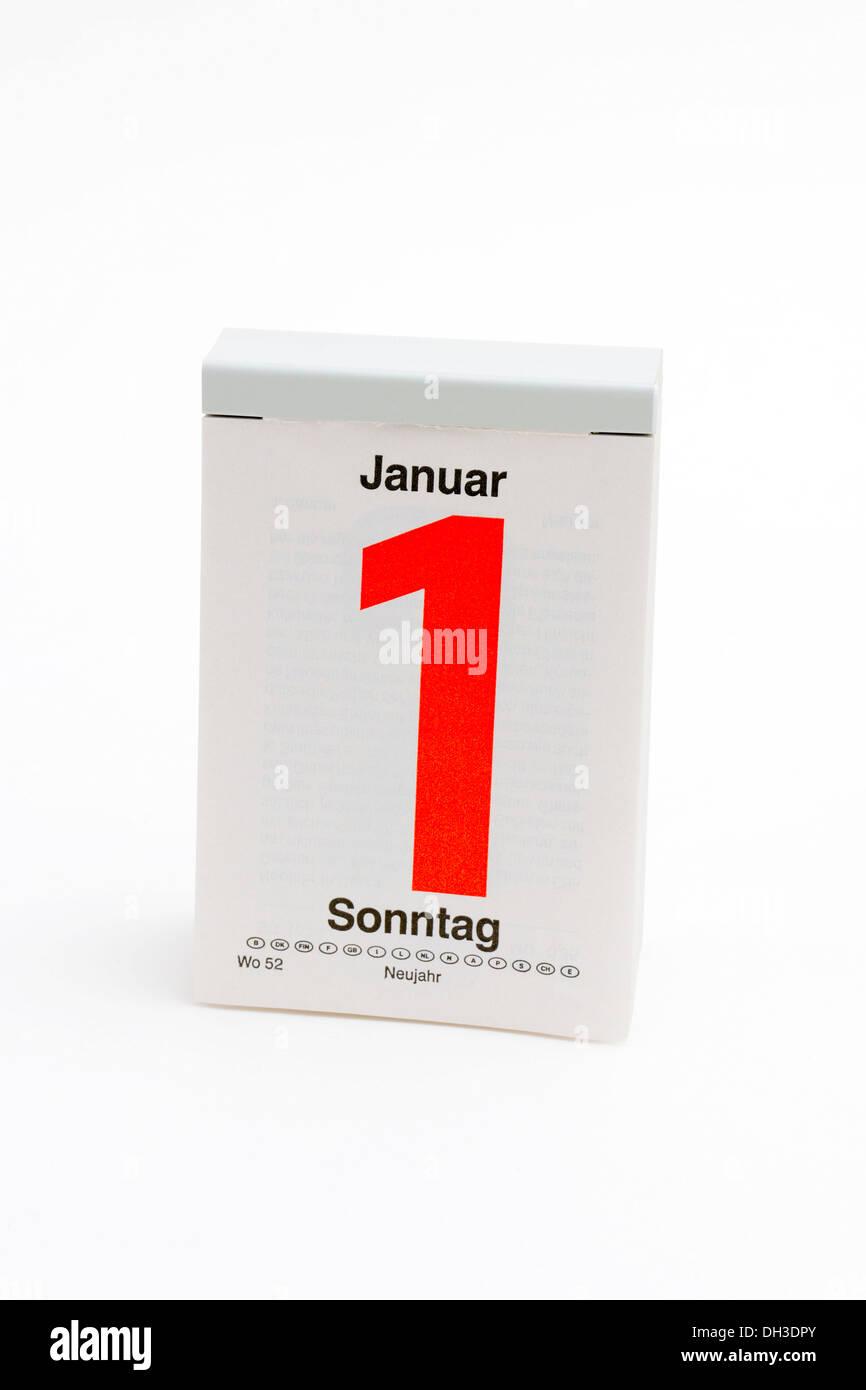 German tear-off calendar, Sunday, 1st January, New Year's Day - Stock Image