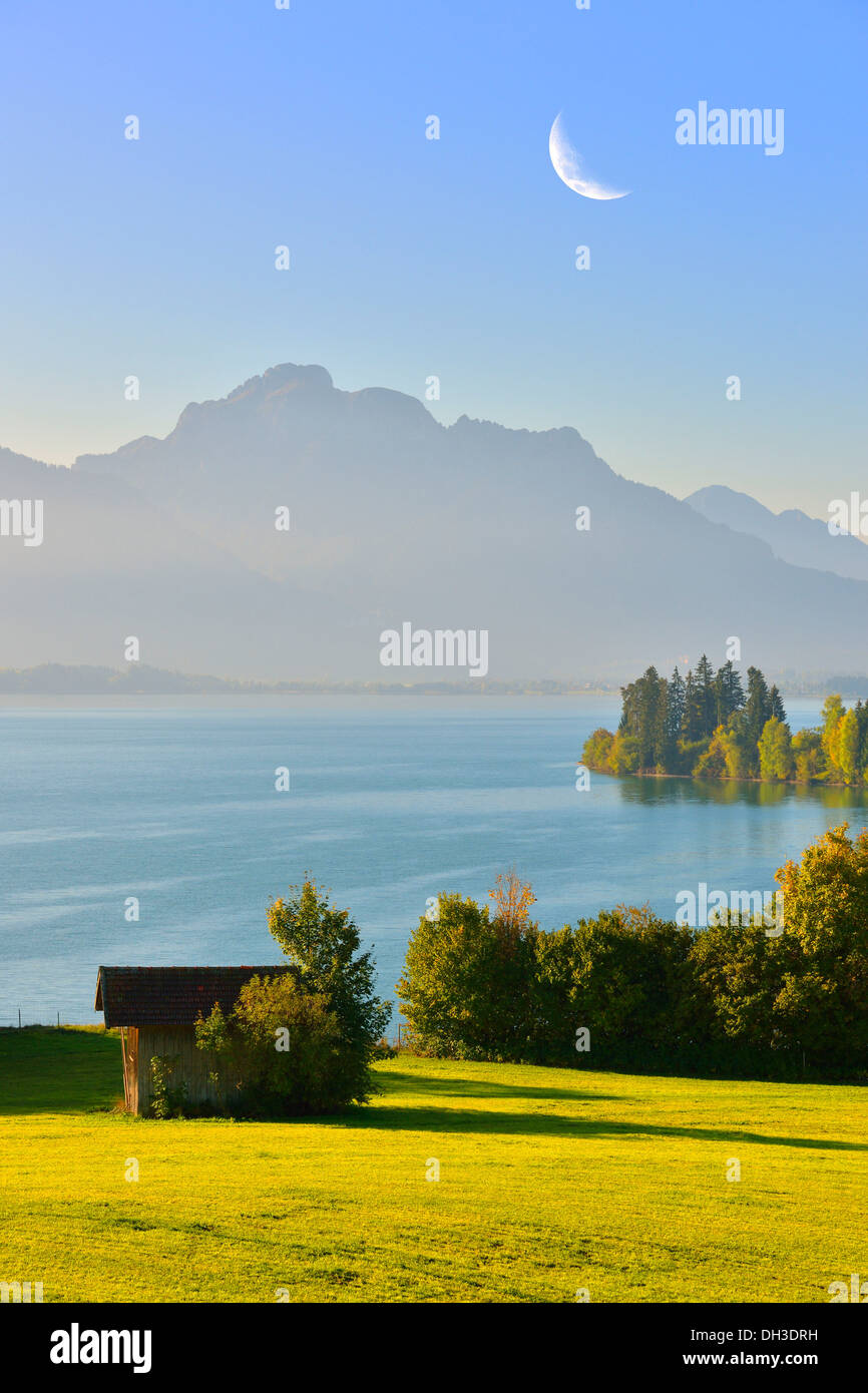 Forggensee lake, near Fussen, Tannheim Mountains, moon, composing, Ostallgaeu, Allgaeu, Bavaria Stock Photo